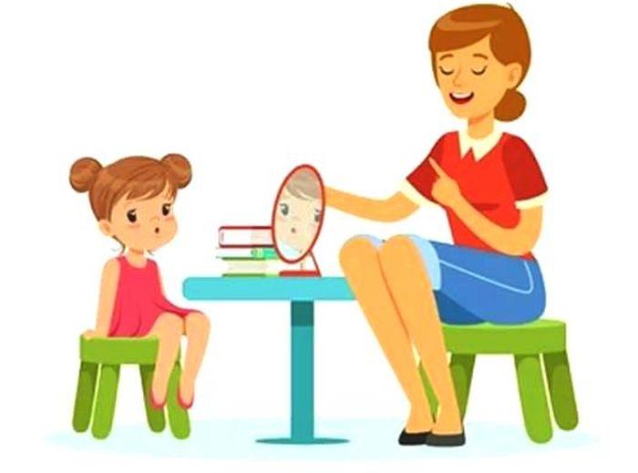 Картинка - логопед занимается с ребенком. Простая срисовка.