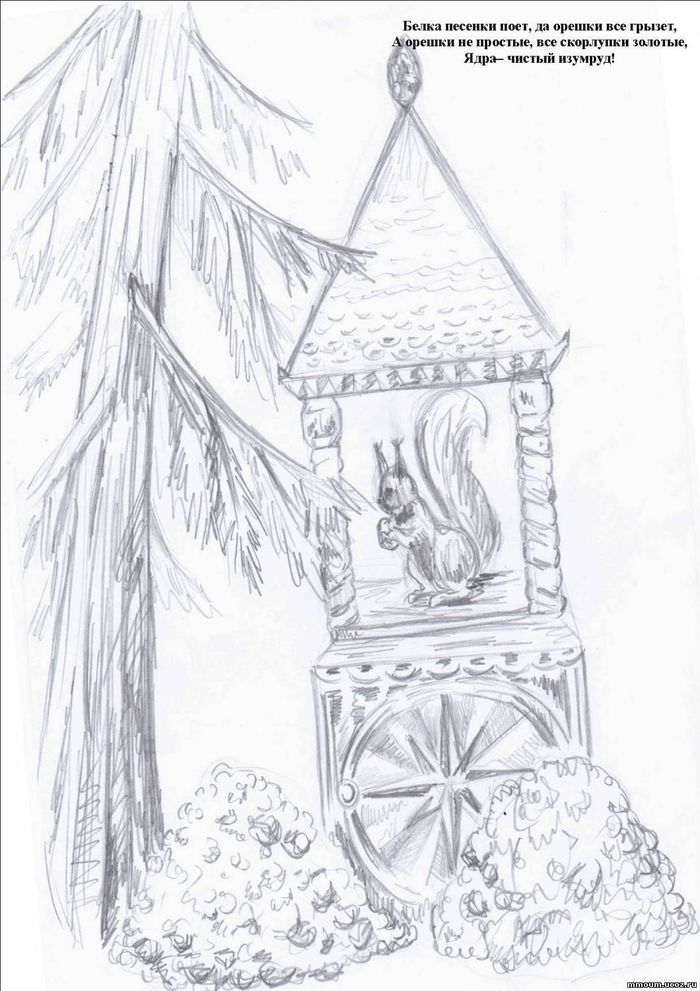 Белка грызет орешки картинки пушкин раскраска