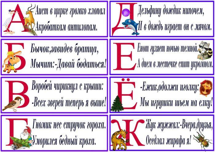 Алфавит с картинками и стихами для детей