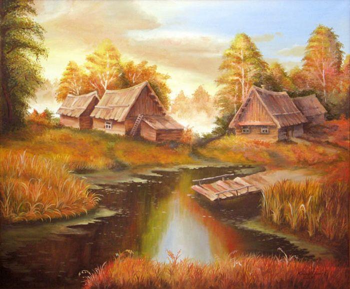 Осень в деревне картинки и детские рисунки.