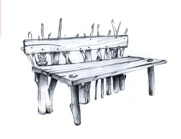 Скамейки картинки карандашом