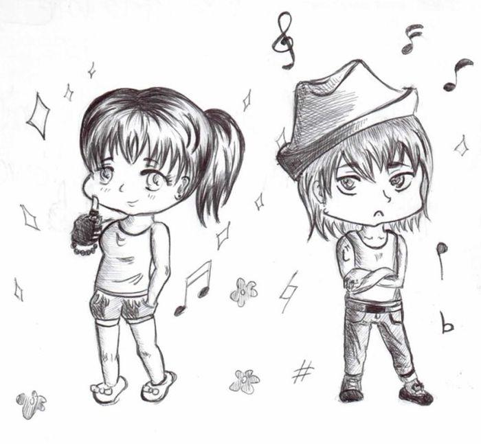 Рисунки карандашом девочка и мальчик