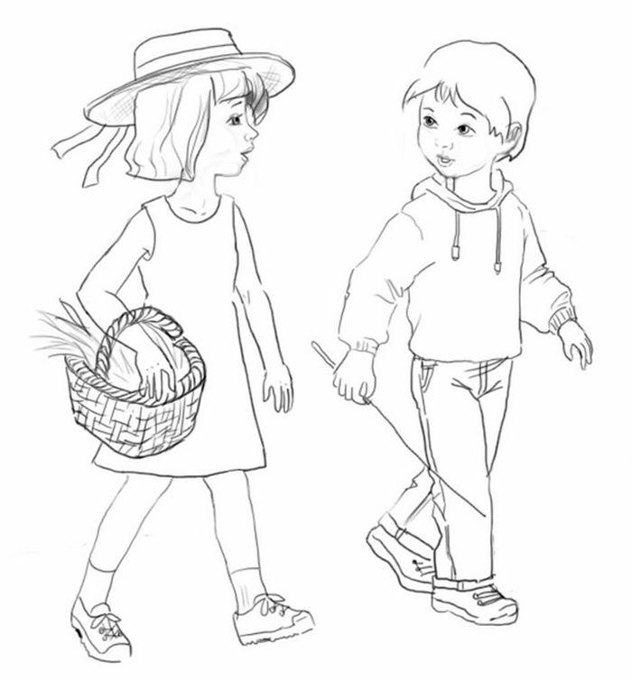 Днем, девочка и мальчик картинки нарисованные карандашом
