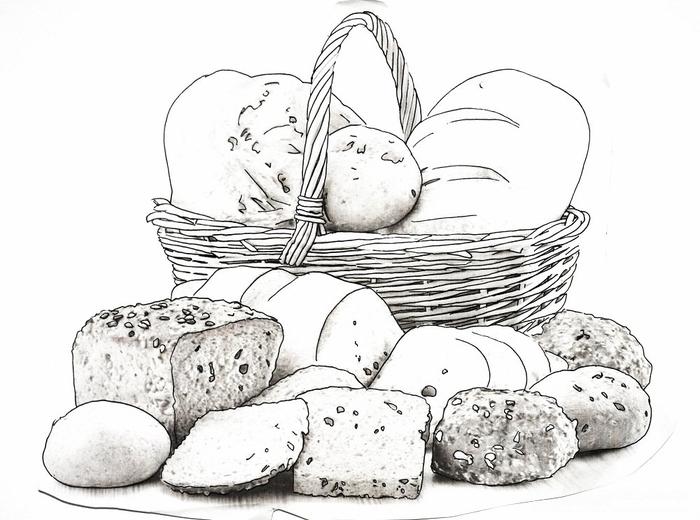 Хлеб раскраска для детей картинки