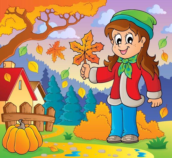 Рисунок дети которые собирают осенние листья