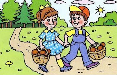 Дети собирают грибы. Картинки и рисунки.