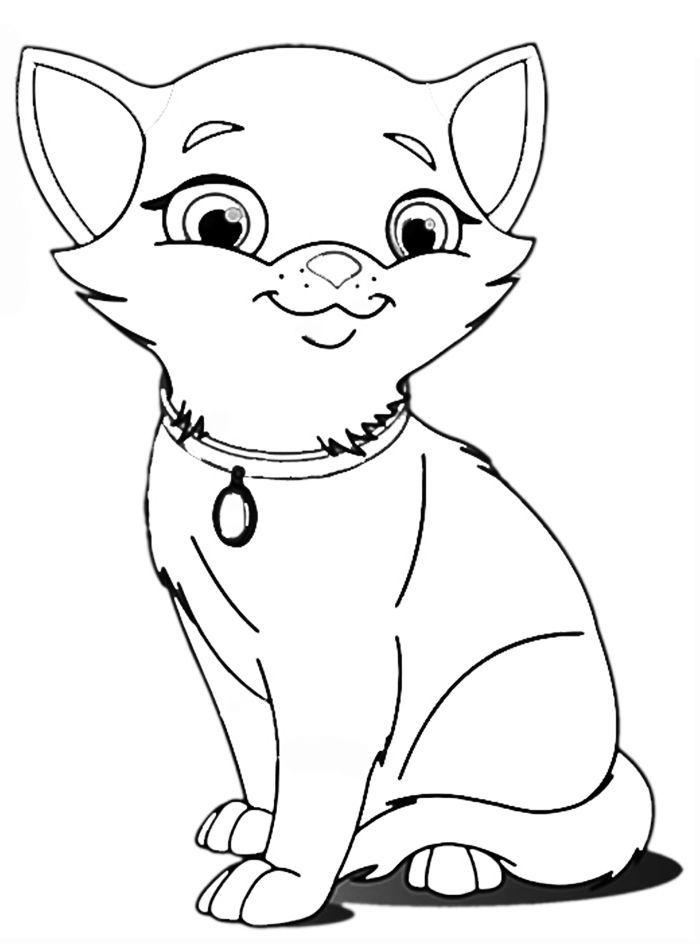 Кот - картинка раскраска для дошкольников и младших ...