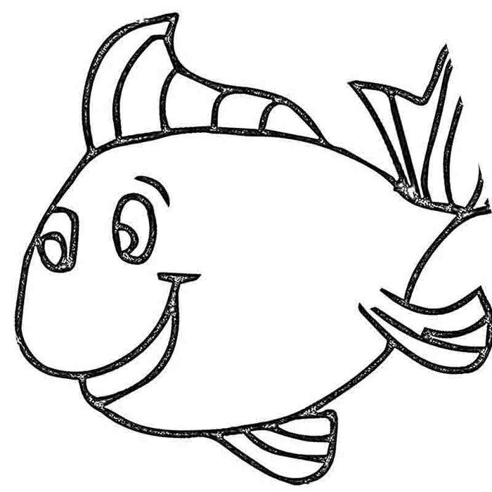 Картинка рыбка для детей - раскраска. Для всех возрастов.