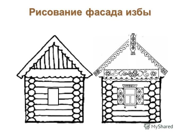 рисунок деревенский домик с узорами красиво