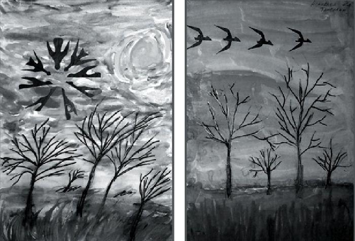 рисунок пятном гроза черные и белые краски