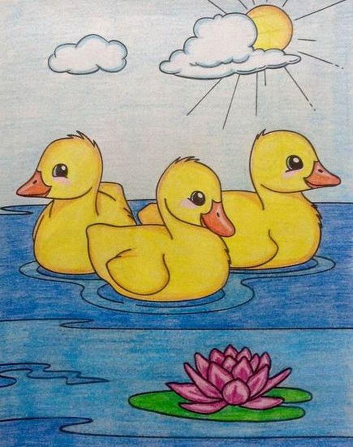 Утка картинка для детей в школу и в детский садик.