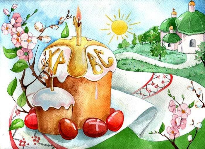 Нарисованная открытка к пасхе, сделать открытку айфоне