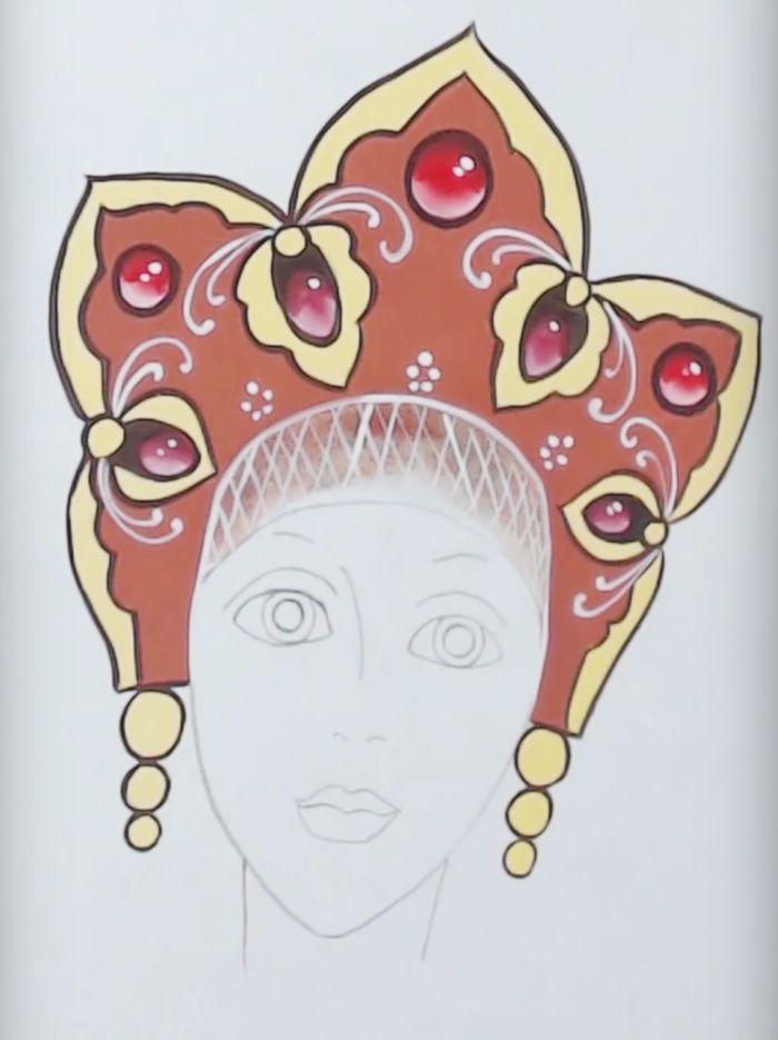 Картинка кокошника карандашом