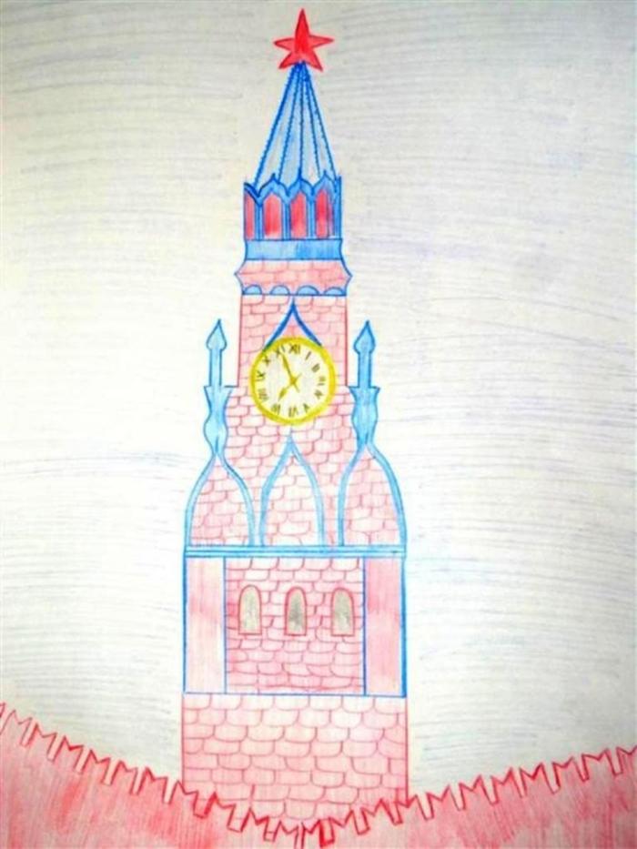 Спасская башня кремля картинки рисунок