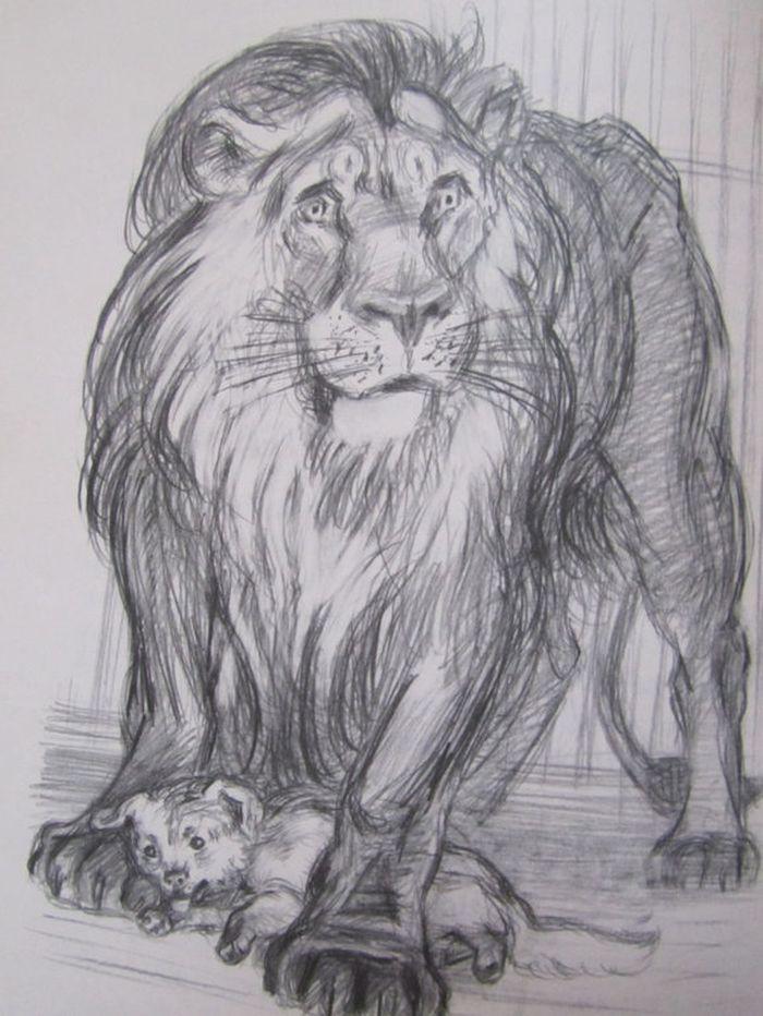Рисунок лев и собачка 3 класс