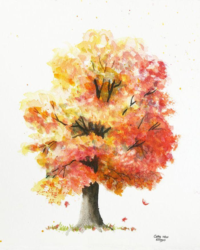 Клен рисунок цветными карандашами и красками для детей