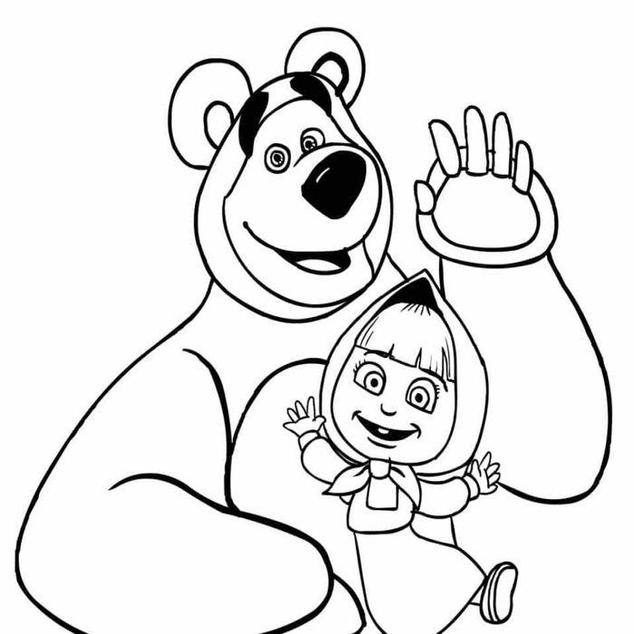 Смешные, маша и медведь рисунок карандашом