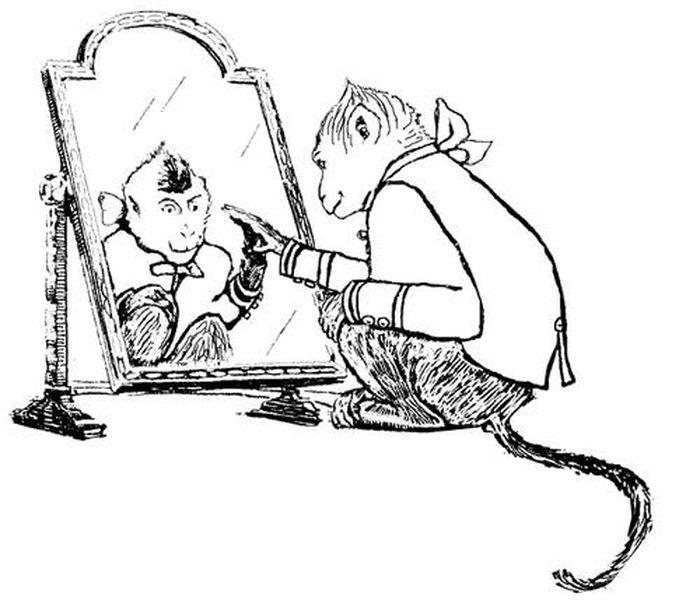 Раскраска басни крылова зеркало и обезьяна