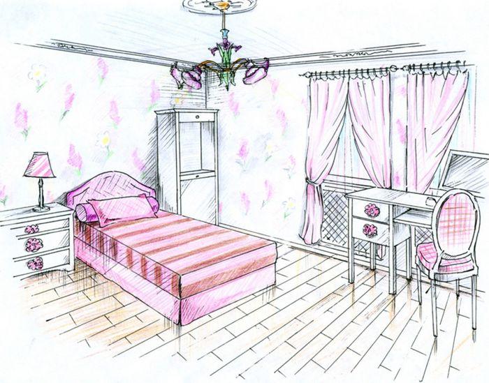 рисунок моя комната карандашом для детей