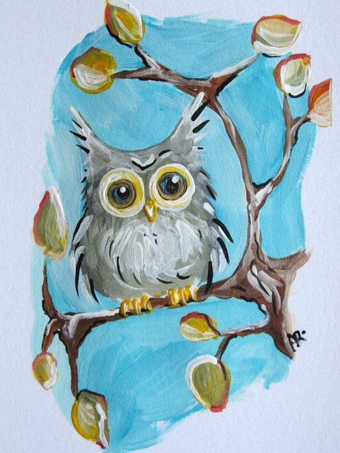 Сова рисунок карандашом для детей в школу и в детский садик.