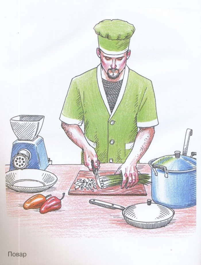 вот сюжетная картинка повар готовит обед место