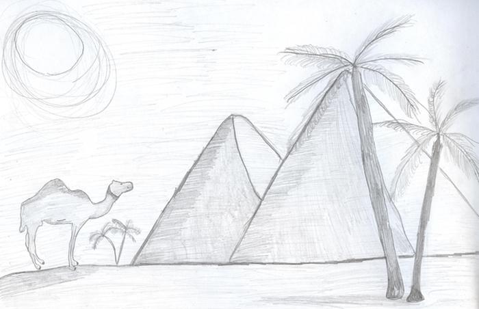 Рисунок городов в пустыне, картинки для