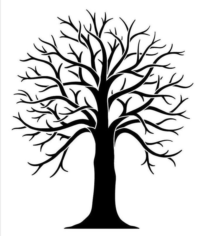 Рисунок дерева без листьев для детей эскиз распечатать