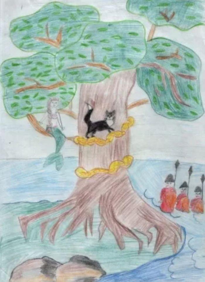 рисунок про лукоморье дуб зеленый выкройки