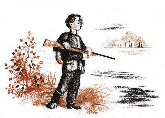 Иллюстрация к сказке васюткино озеро картинки карандашом
