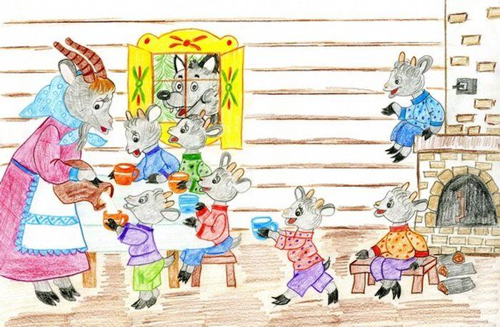 Картинки к сказке волк и семеро козлят распечатать