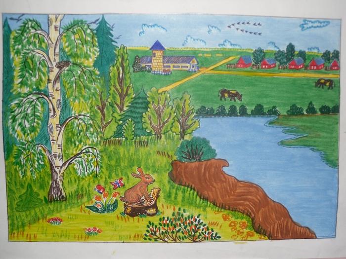Нарисовать рисунок природа родного края карандашом
