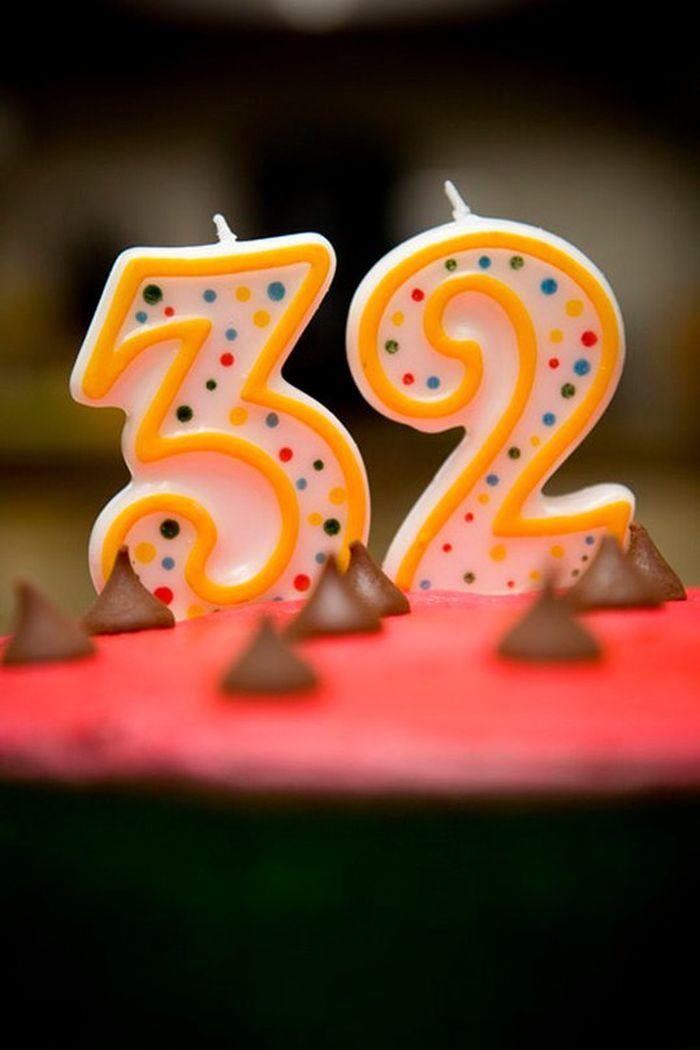 Открытка с цифрой 32