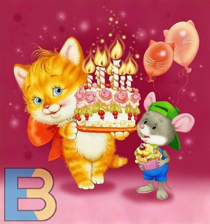 Анимированная открытка с днем рождения девочке 6 лет, анимация про дружбу