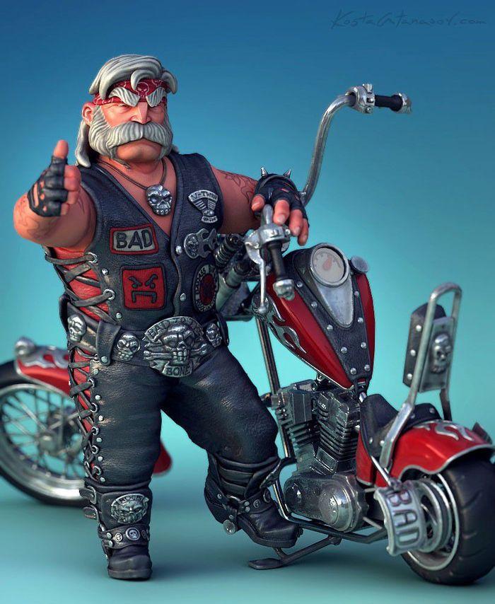 Открытка с мотоциклистом